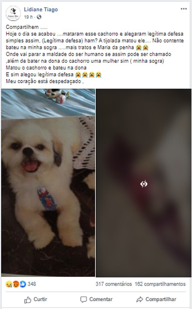 Família ficou revoltada com a situação e fez uma postagem nas redes sociais relatando o ocorrido — Foto: Facebook/Reprodução