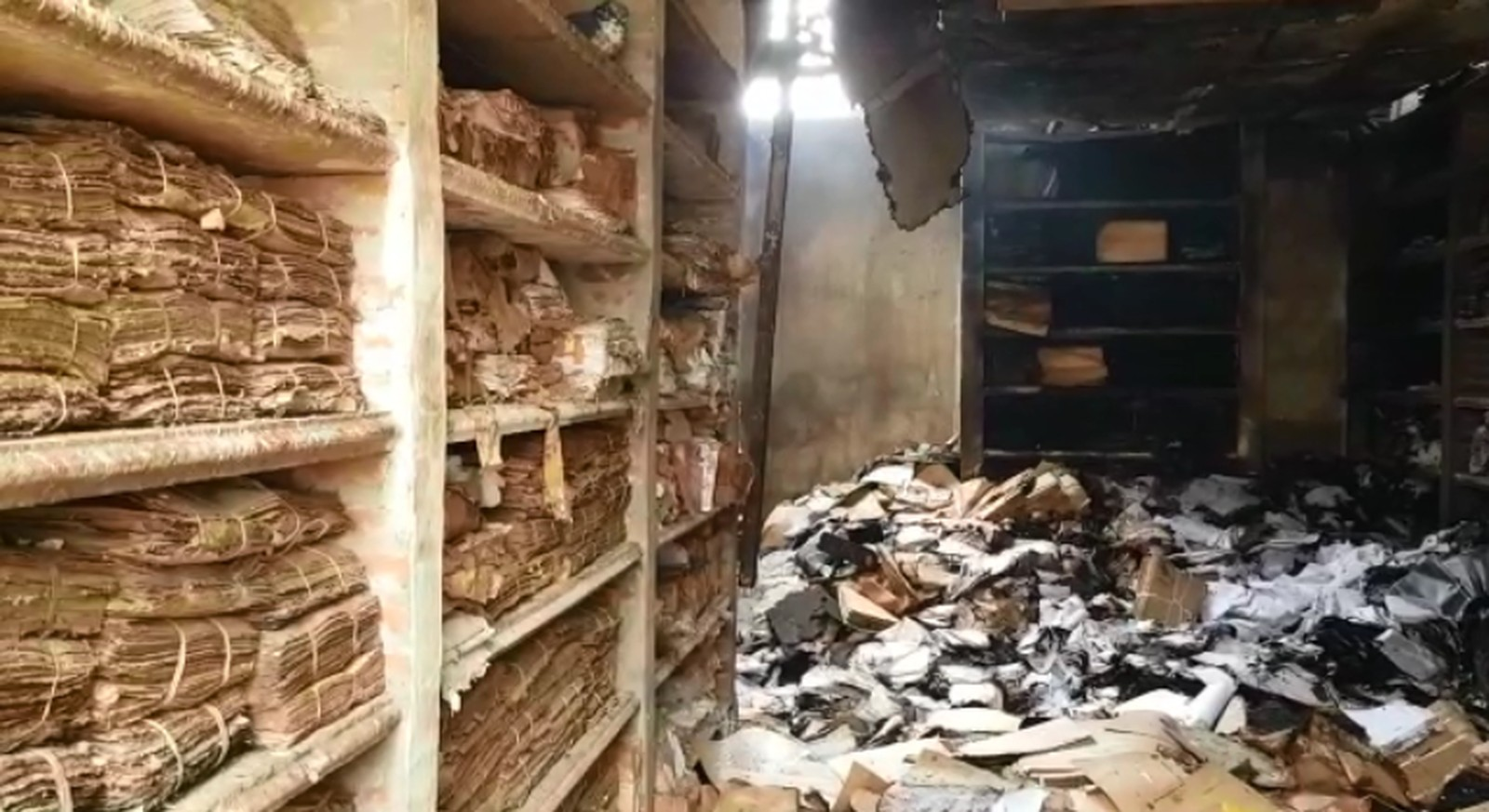 Incêndio destrói arquivos de galpão usado pela prefeitura de Marília — Foto: Alcyr Netto/TV TEM