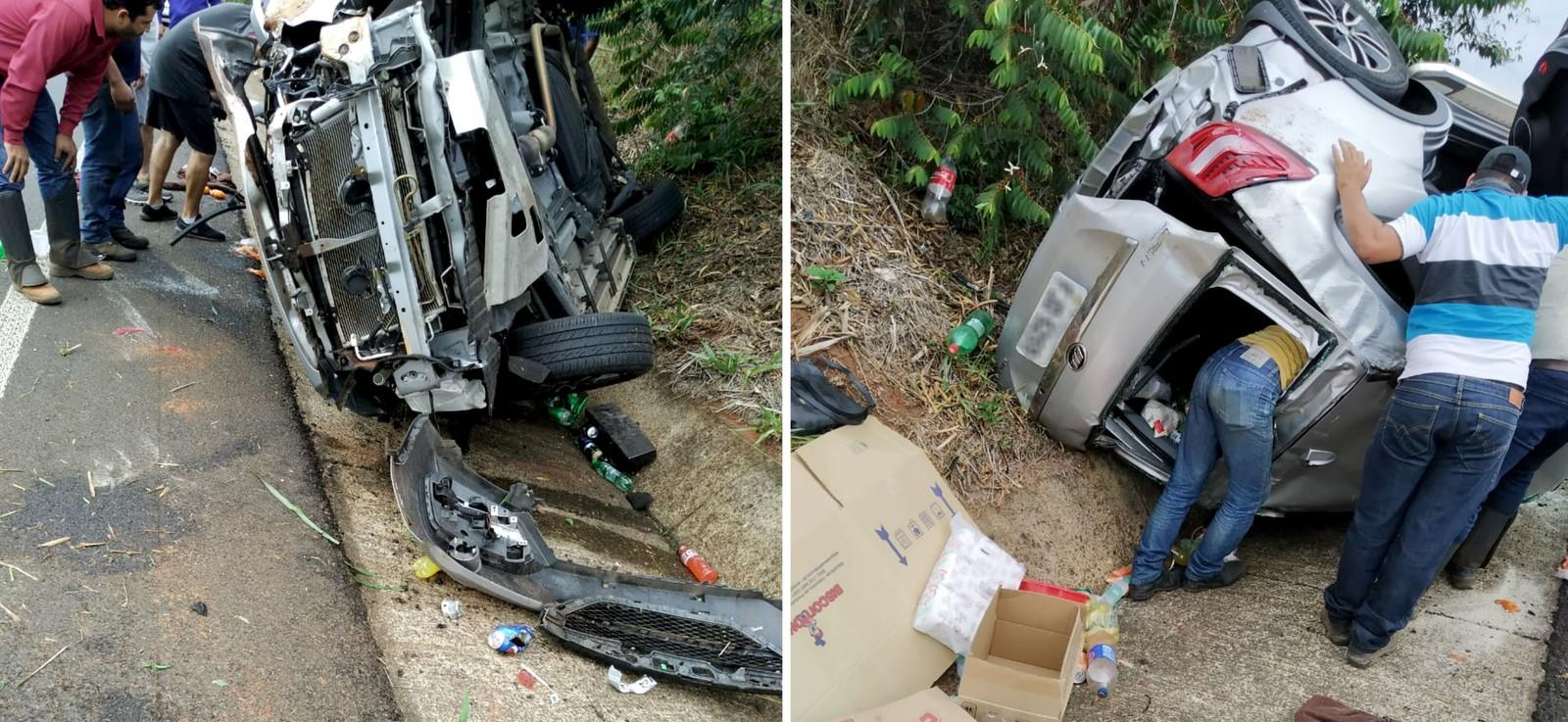 Veículo parou de lado na canaleta do acostamento da SP-321, que não precisou ser interditada — Foto: Arquivo pessoal