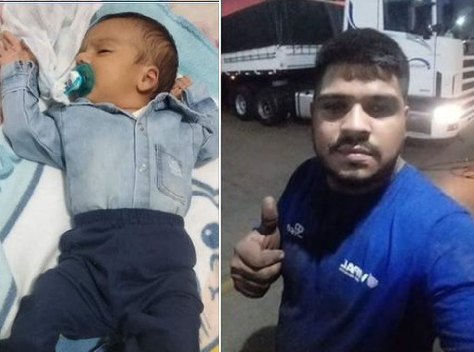 Bebê de dois meses e o pai de 26 anos morreram no acidente em Florínea — Foto: Facebook/Reprodução
