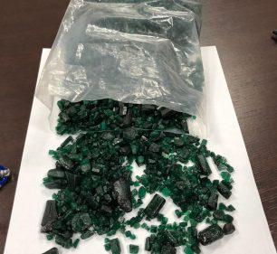 Carregamento de esmeralda seria exportado com valor muito superior ao estimado por especialista em pedras preciosas — Foto: Receita Federal/Divulgação