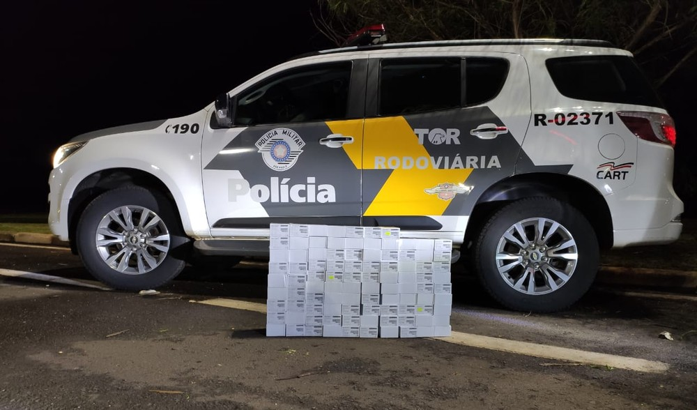 Polícia apreende celulares sem nota fiscal na Rodovia Raposo Tavares em Palmital — Foto: Polícia Rodoviária   Divulgação