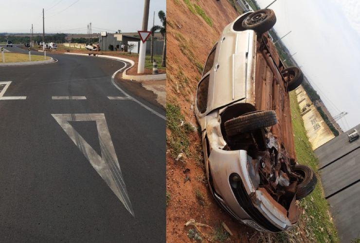Motorista perde o controle e carro capota em avenida de Assis — Foto: The Brothers | Divulgação