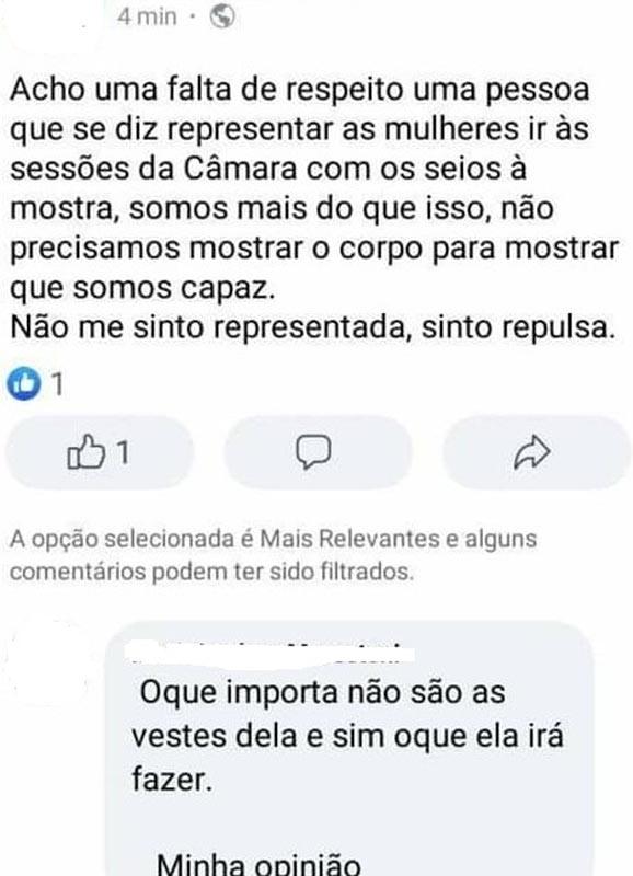 Em postagem feita após a cerimônia de posse em Paraguaçu Paulista, internauta critica roupas usadas por vereadora — Foto: Facebook   Reprodução