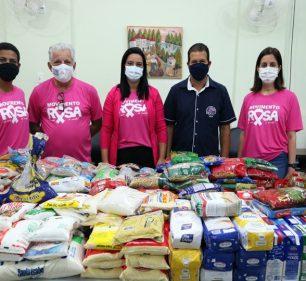 Movimento Rosa arrecada alimentos em prol da Casa de Apoio em Jaú — Foto: Departamento de Comunicação PMA/Fernando Azevedo